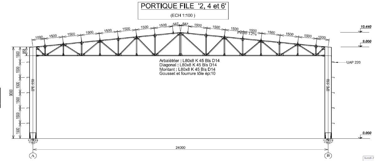 Portique rigide avec traverse en treillis charpente for Type de charpente metallique