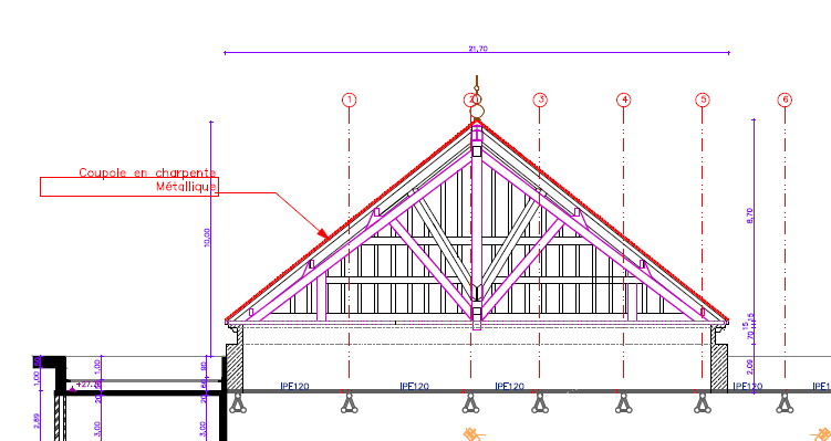 toiture pyramidale charpente m tallique civilmania. Black Bedroom Furniture Sets. Home Design Ideas